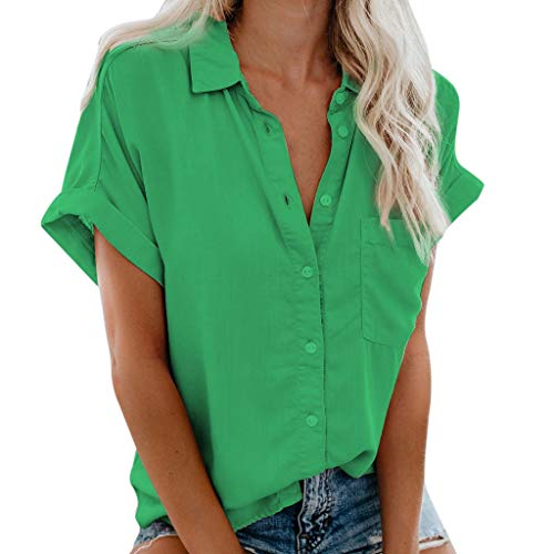 LYN Star✨ Women's Casual Button Down Blouse Shirts Cuffed Sleeve Loose T-Shirt Tops Button Down Blouse Shirt Tops Green