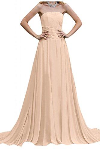 Por la noche vestidos de novia sin tirantes de la Toscana diseño de balón de la gasa de la dama de honor de largo vestidos Prom Beige Rosa