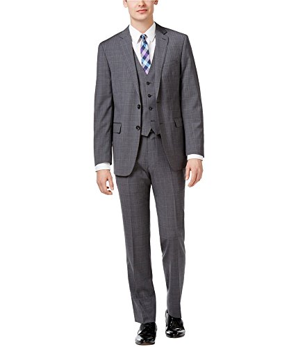 Calvin Klein Men's 3 pcs Slim Fit Gray and Blue Plaid Windowpane Vested Suit 100% Wool Retail $695 (42 Regular USA Jacket / 35 Waist Pants)