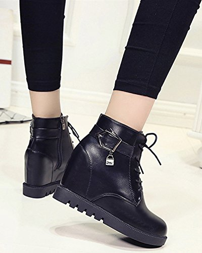 Minetom Women Autumn Winter Martin Boots New British Style Fashion Ankle Boots Zipper Closure Lace Up Shoes Black vKqWR