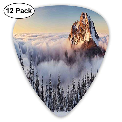 Guitar Picks - Abstract Art Colorful Designs,Roszutec Slovakia Mountain Fatra With Smoky Foggy Peak At Winter Panoramic Picture,Unique Guitar Gift,For Bass Electric & Acoustic Guitars-12 Pack