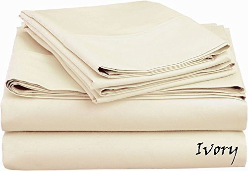 "Cruiz Linen King Size Sheets Luxurious Soft Egyptian Cotton 4-Piece Sheet Set For King Size (76 x 80"") Mattress Fits Upto 7-9"" Pockets Depth, 550 Thread Count (Solid, Ivory)"