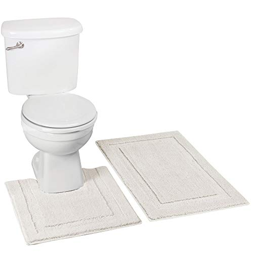 mDesign Soft Microfiber Polyester Spa Rugs for Bathroom Vanity, Tub/Shower - Water Absorbent, Machine Washable - Plush Non-Slip Rectangular Accent Rug and Contour Toilet Mat - Set of 2, Ivory