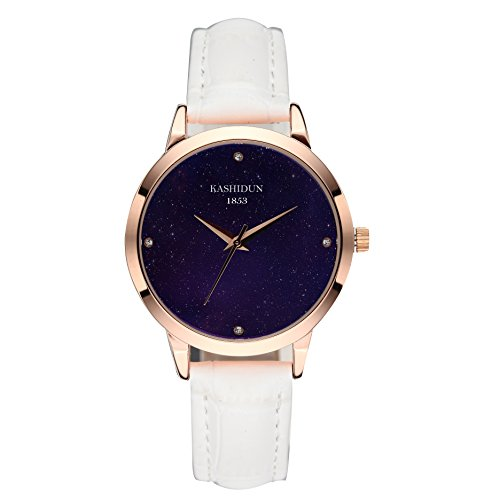 KASHIDUN Women's Watches Luxury Dress Fashion Waterproof Quartz Wristwatch Diamonds Dial Black Leather (Diamond White Dial Watch)