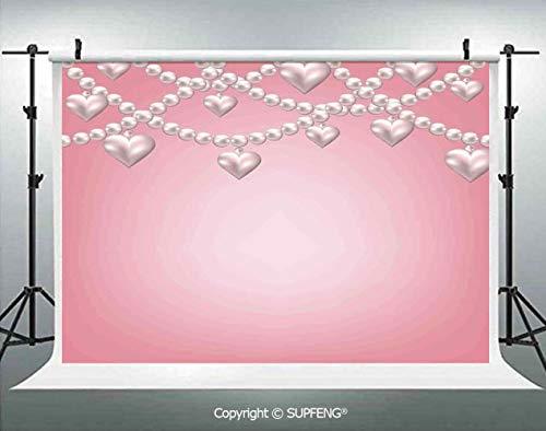 Background Heart Pearl Necklace Design Vintage Style Accessory Love Celebrating Artwork Print Decorative 3D Backdrops for Interior Decoration Photo Studio Props