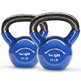 Yes4All Combo Vinyl Coated Kettlebell Weight Sets – Great for Full Body Workout and Strength Training – Vinyl Kettlebells 20 25 lbs