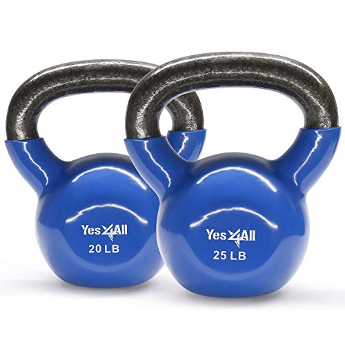 Yes4All Combo Vinyl Coated Kettlebell Weight Sets - Great for Full Body Workout and Strength Training - Vinyl Kettlebells 20 25 lbs