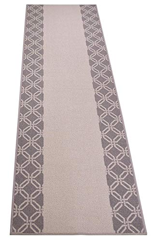 RugStylesOnline Custom Size Runner Lattice Trellis Border Abstract Design Roll Runner 26 Inch Wide x Your Length Size Choice Slip Skid Resistant Rubber Back (Grey, 15 ft x 26 in)