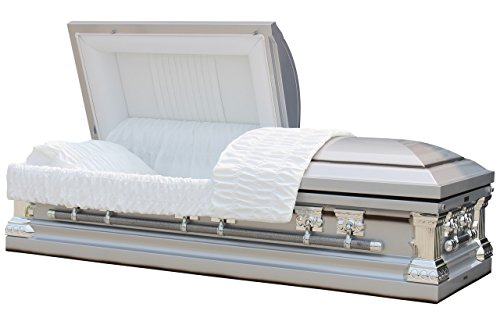 Overnight Caskets - Knight Silver W White Interior - 18 Gauge Metal Casket/Coffin