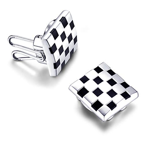 BUTTONCUFF Black & Silver Grid Button Covers - Imitation Cuff Links for Tuxedo, Business or Formal Shirts (SQ-08)