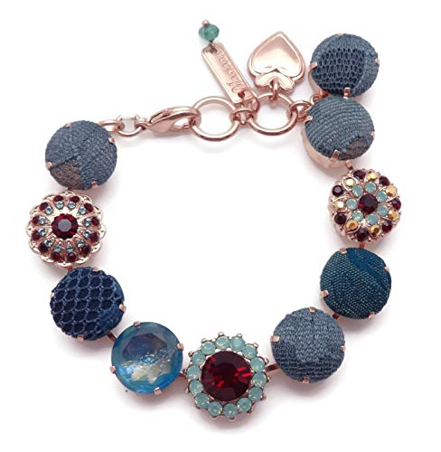 Mariana Swarovski Crystal Rose Goldtone Bracelet Red & Pacific Opalescent Fabric Button Mix ()