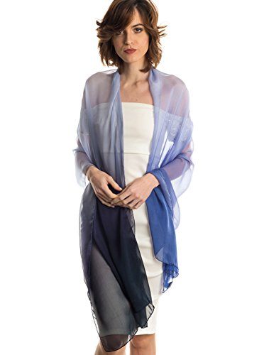 Elizabetta Womens Silk Chiffon Ombre Shawl Wrap Scarf, Made in Italy (Blue)