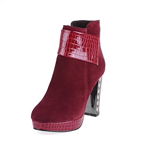 A&N Girls Chunky Heels Platform Zipper Frosted Boots Claret oEr6wNIT