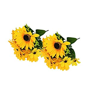 "Ieoyoubei 2 PCS Bouquet of Artificial Silk Flower Sunflower 12"" Bouquet and Green Leaf for Home Decoration Bridal Wedding Festival Decoration Small Flower (Yellow-Orange) 13"