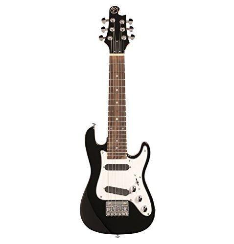 Vorson EGLST BK S-Style Guitarlele Travel Electric Guitar with Gigbag, Black by Vorson