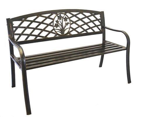 GHP鋳鉄メタルフラワーブーケデザイン庭/ガーデン/公園ベンチ B012A6AVQO