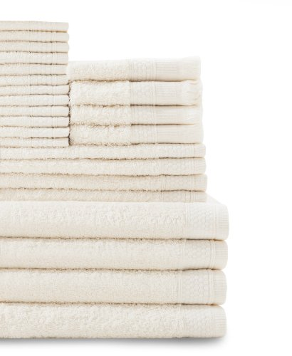 Baltic Linen Company Multi Count 100-Percent Cotton Complete 24-Piece Towel Set, Ivory