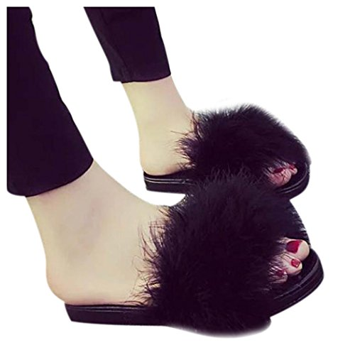 Inkach Women Flat Slipper, Stylish Ladies Girls Flip Flops Faux Fuzzy Fur Slide Slip On Flat Sandal Slipper Shoes Black