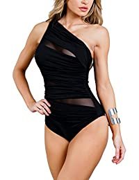 Zehui Traje de baño transparente atractivo de 1 piezas para mujer con almohadilla para el pecho Elegante traje de baño Regalo para el desgaste de la playa