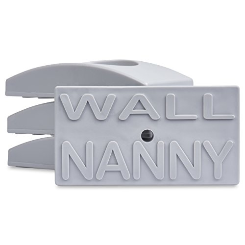 Wall Nanny (4 Pack - Made in USA) Indoor Baby Gate Wall Protector - No Safety Hazard on Bottom Spindles - Small Saver Pad Saves Trim & Paint - Best Dog Pet Child Walk Thru Pressure Gates Guard (Gray) - Closing Surface Hinge Self Flush