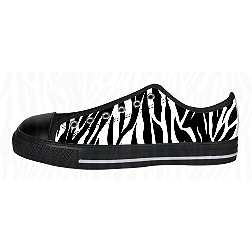 Custom zebra print Womens Canvas shoes Schuhe Lace-up High-top Footwear Sneakers E