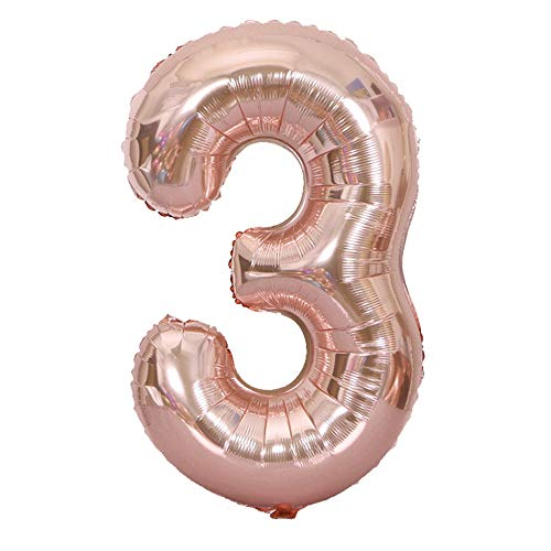 Tellpet Rose Gold Number 3 Balloon, 40 Inch