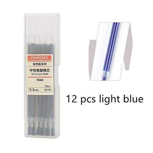 12 pcs Gel ink pen refill set 0.5mm ballpoint metal for writing signature Stationery Office accessories school supplies (Light Blue Box)