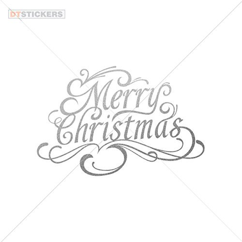 Vinyl Stickers Decals Merry Christmas Lettering Garage home window christmass invitation ornate thermometer (24 X 15,7 Inches) Matte Metallic Silver