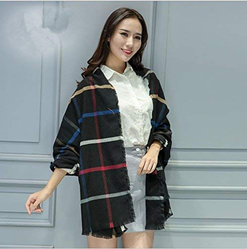 Womens Scarf Women's Fashion Winter and Autumn Warm Cashmere Soft Scarf Large Temperament Plaid Scarf Double with Cappa Black