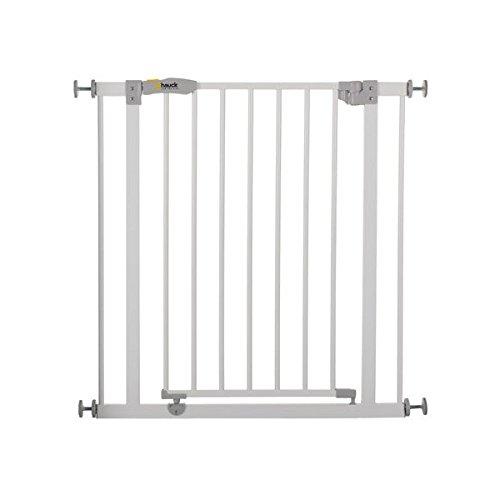Hauck/Open N Stop/Barrière de Sécurité Escalier et Porte/75 à 80 cm/sans Perçage/Extensible jusqu'à 122 cm avec Extensions de 9 cm et 21 cm/Utilisable avec Adaptateur Y-Spindel/Métal/Ouvrable dans les deux Sens/White(Blanc)
