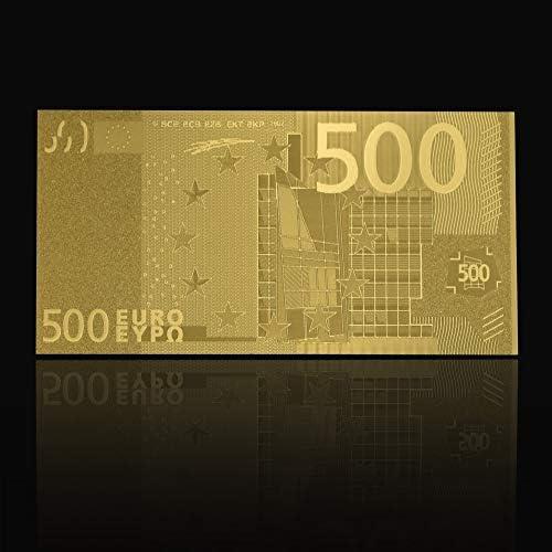 CHENTAOCS USA 100ドル札偽造貨幣500ユーロ24Kゴールドメッキドルデコレーションゴールドギフト装飾贈り物ゴールド紙幣 使いやすい (色 : 500F)
