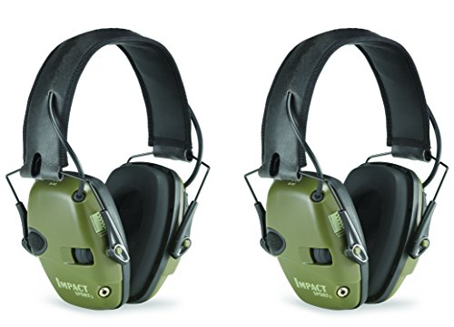 Howard Leight by Honeywell R-01526-PK2 2-Pack Impact Sport Sound Amplification Electronic Earmuff, Classic Green (R-01526-PK2), Classic -