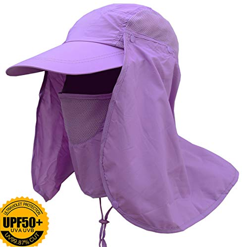 MOCHOEL Fishing Hat Summer Sun Cap Wide Brim Removable Face Neck Cover Flap Military Quick Dry Breathable 360° UV Protection UPF 50+ for Man Women Outdoor Sports Hiking Fishing Travel (Dark Purple)