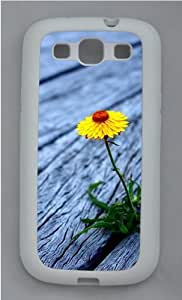 Flower between wooden boards Custom Samsung Galaxy S3 Case Cover - TPU Silicone - White