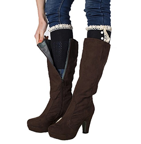 HP95(TM) Womens Crochet Knitted Lace Button Trim Boot Cuffs Toppers Leg Warmers Socks (A) Button Trim Boot
