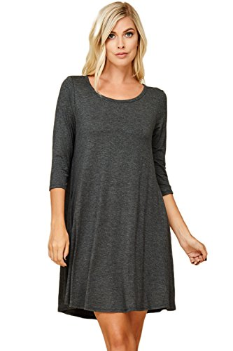 Trapeze Sleeve 3/4 - Annabelle Women's Comfy 3/4 Sleeve A-Line Trapeze Scoop Neck Swing Dresses Plus Size with Pockets Charcoal Mid Grey 3X-Large D5211