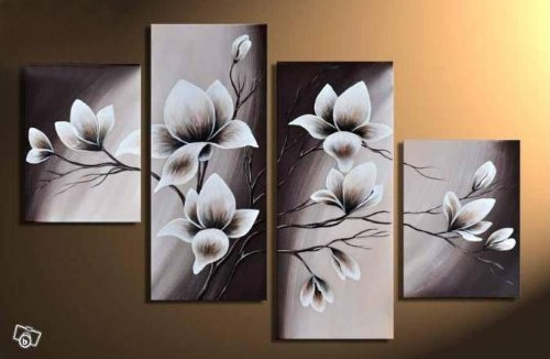 Amazon.Com: Wieco Art - Elegant Blooming Flowers 4 Panels Modern