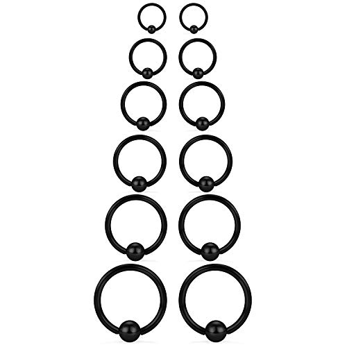 SCERRING 12PCS 14G Stainless Steel Captive Bead Ring Nose Rings Hoop Helix Daith Cartilage Tragus Earrings Nipple Eyebrow Body Piercing 8mm 10mm 12mm 14mm 16mm 19mm Black