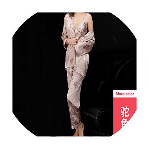 Pajamas Ladies Summer Three-Piece Suit Long-Sleeved Men's Robe Bathrobes Home Service, Three-Piece Set of Camel,XL ()