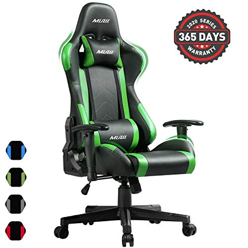 Muzii PC Gaming Chair for Pro,4-Color Choice PU Leather Racing Style Ergonomic Adjustable Computer Chair for Office or Game with Headrest and Lumbar Pillow for Adults and Teens (Green) Muzii