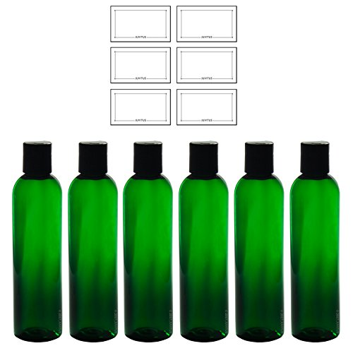 (8 oz Green Tall Slim Plastic PET Refillable BPA Free Bottles with Black Disc Cap Dispenser (6 pack) + Labels)