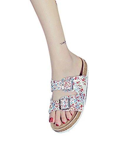 ZKOO Sandalias de Dedo Mujeres Multicolor Impresión Punta Abierta Vendaje Sandalias Verano Zapatillas de Verano Playa Zapatillas de Hebilla Casual Como la imagen1