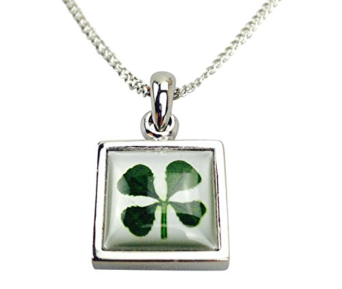 Lucky Real Four Leaf Clover Double Sided Square Pendant Necklace with Certificate & Gift Box