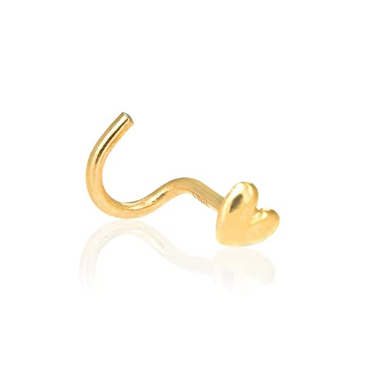 Amazon JewelStop 14k Yellow Gold Heart Nose Stud Nose Screw