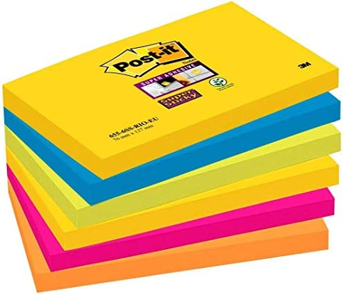 Neon Self Stick Notes Sticky Pads Rectangular 76 x 127mm Office Pack of 4 Z0N