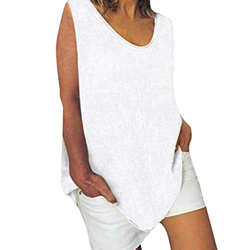 Cotton Linen Baggy Tops Womens Summer Loose Sleeveless Casual T-Shirts Blouse White]()
