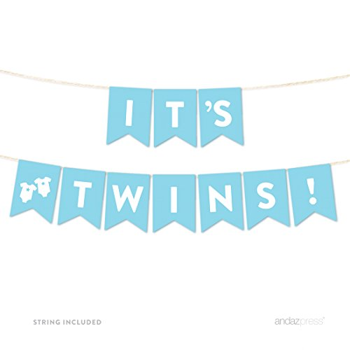 Andaz Press Boy Baby Shower Hanging Pennant Garland Party Banner with String, Baby Blue, It's Twins!, 5-Feet, (Twin Baby Shower)