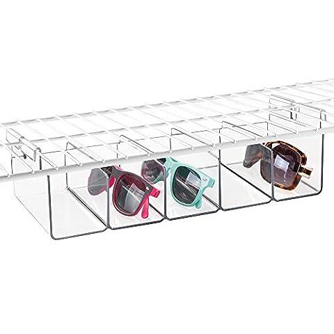 mDesign Wire Shelving Organizer, Hanging Under Shelf Storage Bin - Medium Divided, Clear