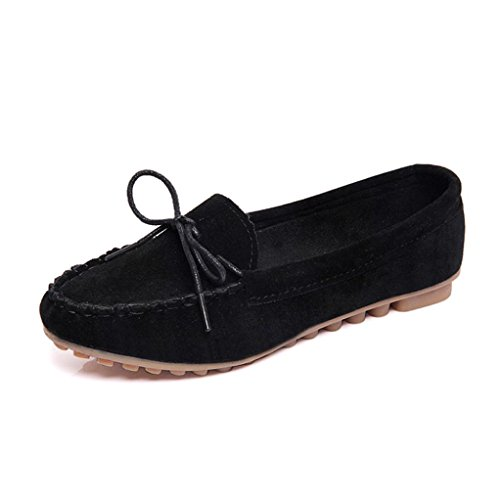 Clode® Womens Round Toe Flats Bowknot Faux Suede Moccasin Slip on Loafer Shoes Size UK Black nBorP6fR