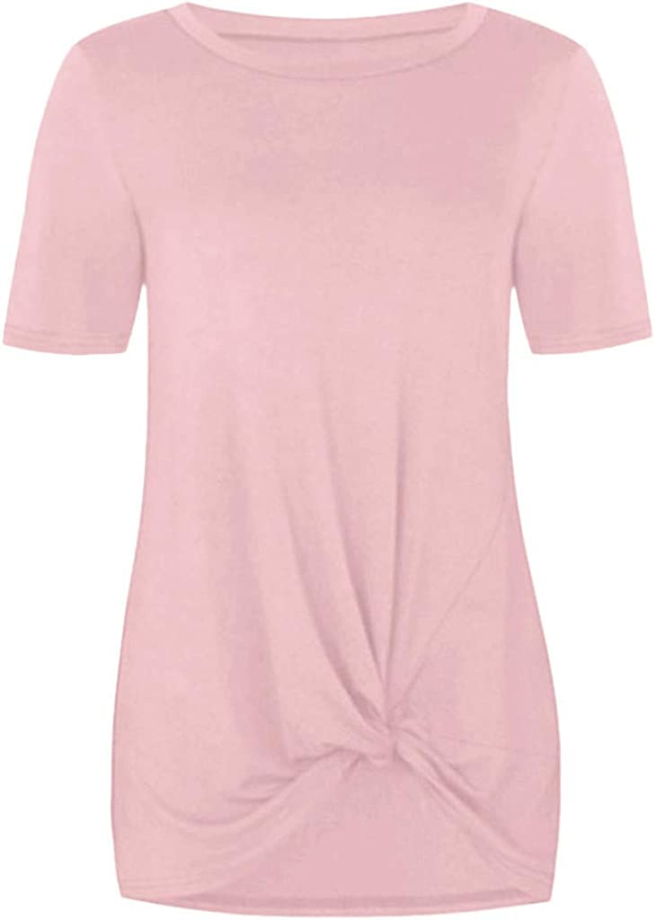 T-Shirt Toddler Baby Girls Short Sleeve Solid Knot Front Tops Shirts Clothes